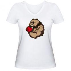 Женская футболка с V-образным вырезом Panda Boxing - FatLine