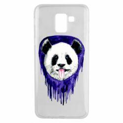 Чехол для Samsung J6 Panda on a watercolor stain