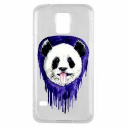 Чехол для Samsung S5 Panda on a watercolor stain
