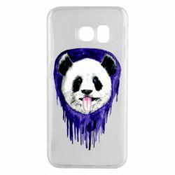 Чехол для Samsung S6 EDGE Panda on a watercolor stain