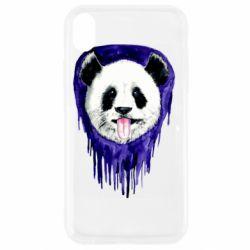 Чехол для iPhone XR Panda on a watercolor stain