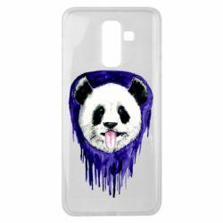 Чехол для Samsung J8 2018 Panda on a watercolor stain