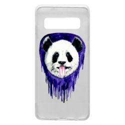 Чехол для Samsung S10 Panda on a watercolor stain