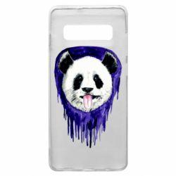 Чехол для Samsung S10+ Panda on a watercolor stain