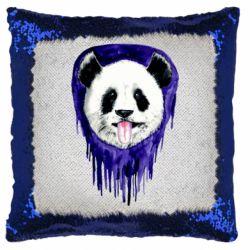 Подушка-хамелеон Panda on a watercolor stain