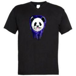 Мужская футболка  с V-образным вырезом Panda on a watercolor stain