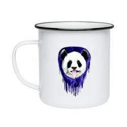 Кружка эмалированная Panda on a watercolor stain