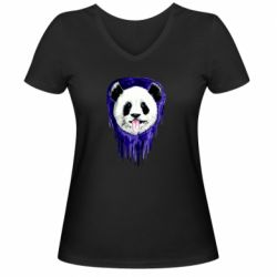 Женская футболка с V-образным вырезом Panda on a watercolor stain