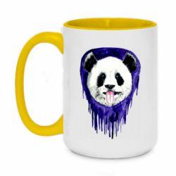 Кружка двухцветная 420ml Panda on a watercolor stain