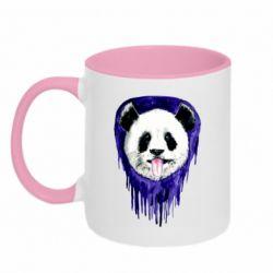 Кружка двухцветная 320ml Panda on a watercolor stain