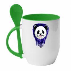 Кружка с керамической ложкой Panda on a watercolor stain