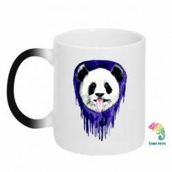Кружка-хамелеон Panda on a watercolor stain