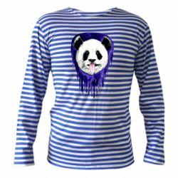 Тельняшка с длинным рукавом Panda on a watercolor stain