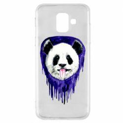 Чехол для Samsung A6 2018 Panda on a watercolor stain