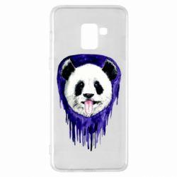 Чехол для Samsung A8+ 2018 Panda on a watercolor stain