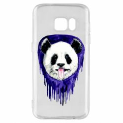 Чехол для Samsung S7 Panda on a watercolor stain