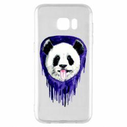 Чехол для Samsung S7 EDGE Panda on a watercolor stain