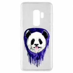 Чехол для Samsung S9+ Panda on a watercolor stain