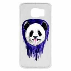 Чехол для Samsung S6 Panda on a watercolor stain