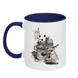 Кружка двухцветная Панда самурай