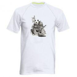 Мужская спортивная футболка Панда самурай