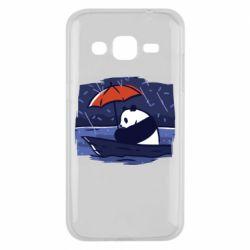 Чехол для Samsung J2 2015 Panda and rain