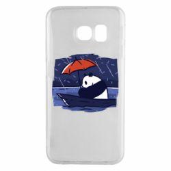 Чехол для Samsung S6 EDGE Panda and rain