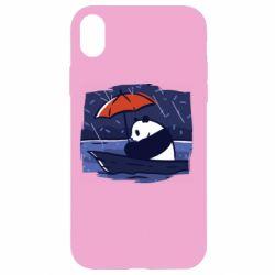 Чехол для iPhone XR Panda and rain