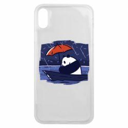 Чехол для iPhone Xs Max Panda and rain