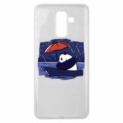 Чехол для Samsung J8 2018 Panda and rain