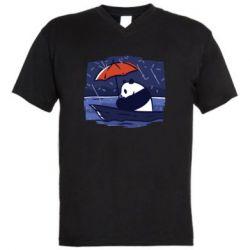 Мужская футболка  с V-образным вырезом Panda and rain