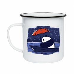 Кружка эмалированная Panda and rain