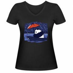 Женская футболка с V-образным вырезом Panda and rain