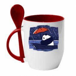 Кружка с керамической ложкой Panda and rain