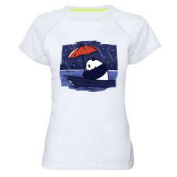 Женская спортивная футболка Panda and rain