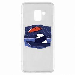 Чехол для Samsung A8+ 2018 Panda and rain