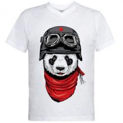 Мужская футболка  с V-образным вырезом Панда в каске - FatLine