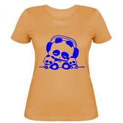Женская футболка Панда в наушниках - FatLine