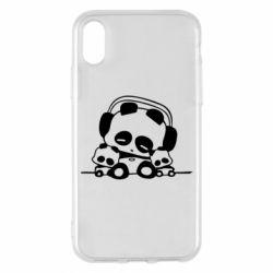 Чехол для iPhone X/Xs Панда в наушниках