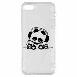 Чехол для iPhone5/5S/SE Панда в наушниках