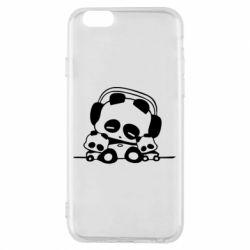 Чехол для iPhone 6/6S Панда в наушниках