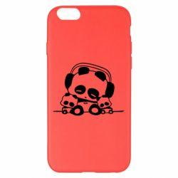 Чехол для iPhone 6 Plus/6S Plus Панда в наушниках