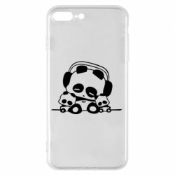 Чехол для iPhone 7 Plus Панда в наушниках