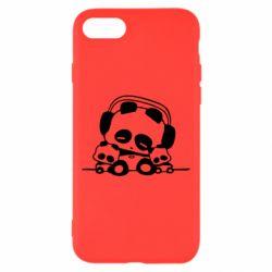 Чехол для iPhone 8 Панда в наушниках