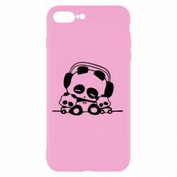 Чехол для iPhone 8 Plus Панда в наушниках