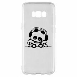 Чехол для Samsung S8+ Панда в наушниках