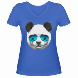 Женская футболка с V-образным вырезом Панда в очках - FatLine