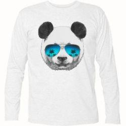 Футболка с длинным рукавом Панда в очках - FatLine