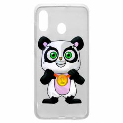 Чехол для Samsung A20 Panda with a medal on his chest