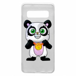 Чехол для Samsung S10 Panda with a medal on his chest